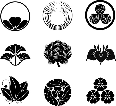 rice plant: Japanese Family Crests Illustration