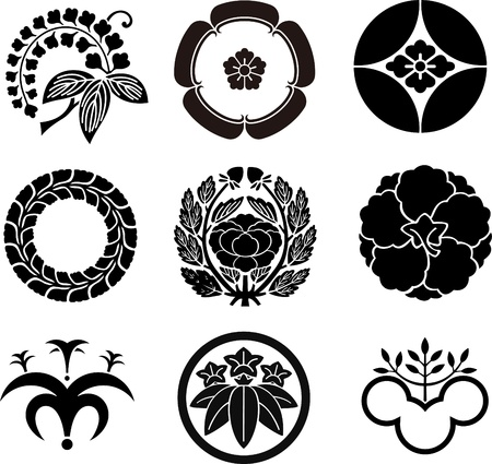japanese flower: Japanese Family Crests Illustration