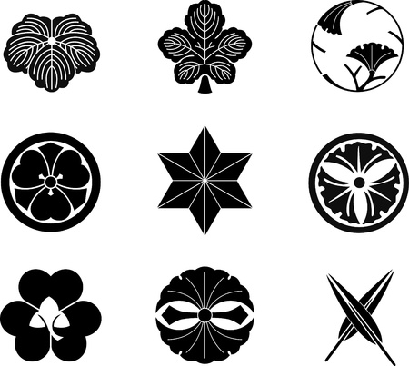 comma: Japanese Family Crests (vector) 13 Illustration