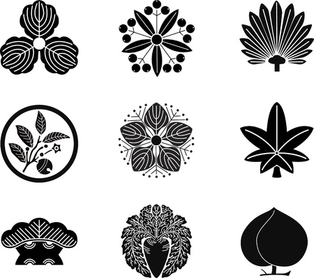 Japanese Family Crests (vector) 14 Illustration