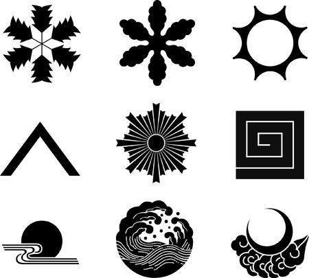 日本の家紋  イラスト・ベクター素材