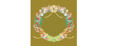 some kind of Japanese flowers around decorated Japanese cord made from twisted paper (vector)