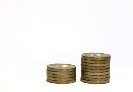 white interest rate: 10 rubles coins on white background Stock Photo