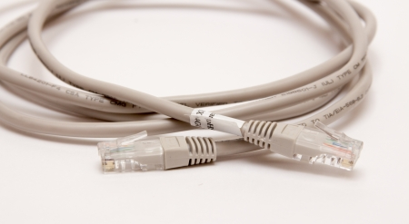 rj 45: Internet cable RJ 45 on a white background Stock Photo