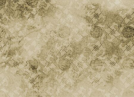 Chinese textured pattern in filigree for background or wallpaper rough and vintage Stok Fotoğraf