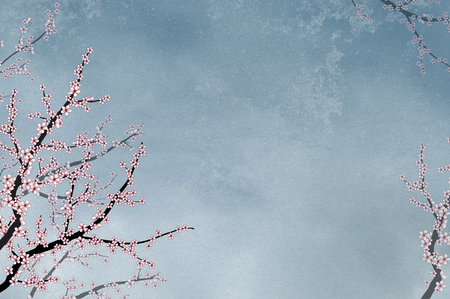 Ornamental elegant cherry tree on textured background with space for text or picture