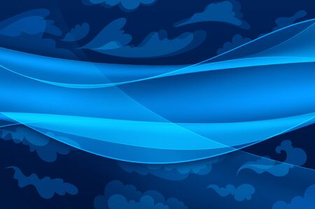 Blue background abstract waves and stylized clouds