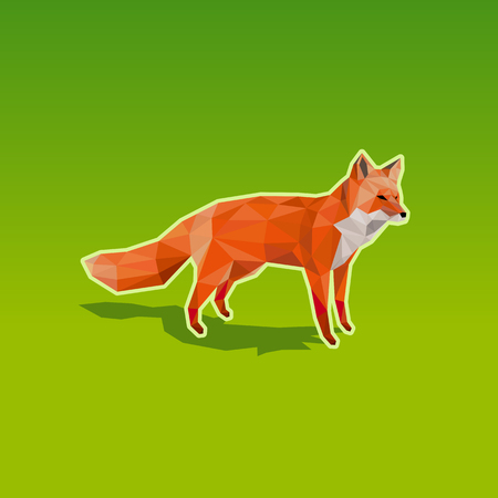 Red fox in low poly style on green background - resizable polygon vector illustration. Çizim