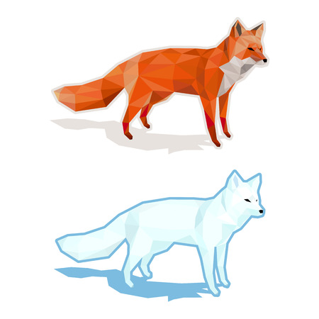 Red and white foxes isolated on white with shadow - low poly vector illustration.