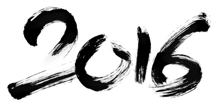 New Year 2016 - Expressive and dynamic calligraphy of numbers for new year - hand drawn lettering on white for poster, greeting card, titling or illustration - rough style. Stok Fotoğraf