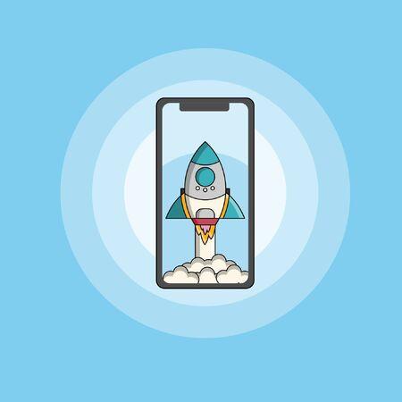 Rocket Launch with mobile phone illustration vector flat design Archivio Fotografico - 138440449
