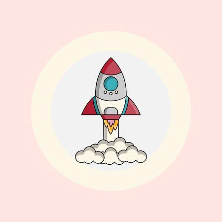 Rocket launch illustration vector flat design Archivio Fotografico - 138440447