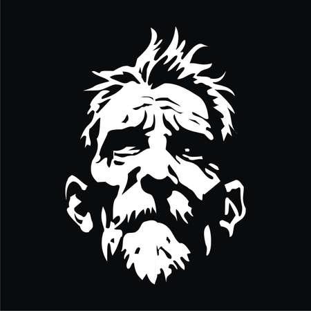 顔の老人  イラスト・ベクター素材