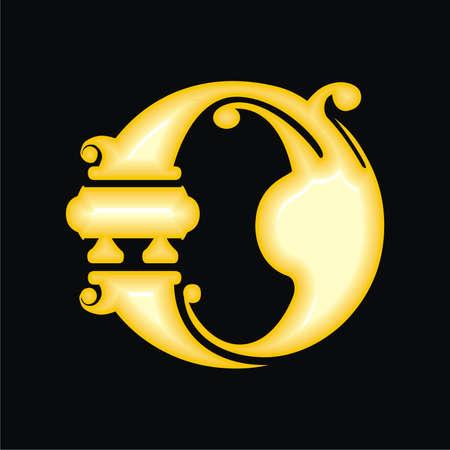 Gold letter O