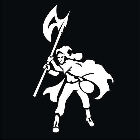 warrior with ax Illustration