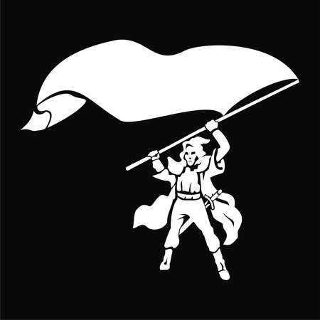 Black and white warrior with a flag. Illustration