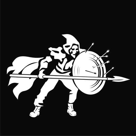 Warrior with a shield and spear Illustration