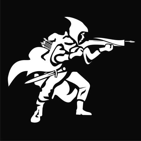 Een kruisboog man in zwart-wit Stockfoto - 75456412