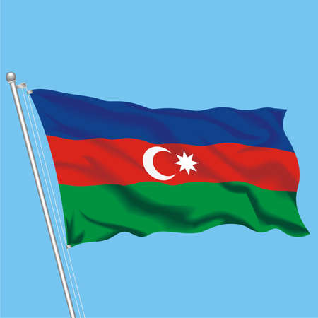 Developing flag of Azerbaijan Stock Vector - 79576003