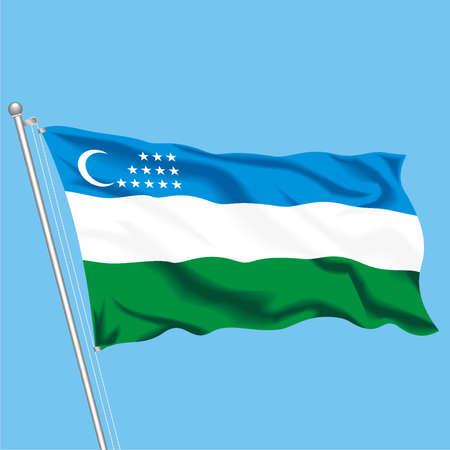 Developing flag of Uzbekistan Illustration