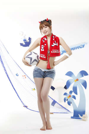 cheerleading squad: Cheering of World Cup soccer game