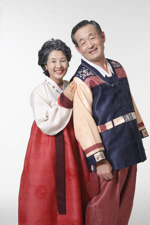 Old couple in Korean traditional costumes Stock Photo - 10208338