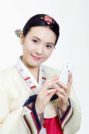 moral obligation and justice: Woman in Korean Traditional costume in Holiday
