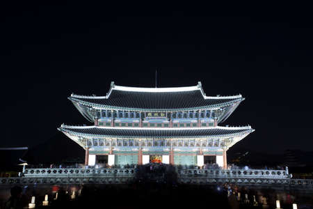 Night view of Korean old palace (Gyeongbokgung) Stock Photo - 10230889