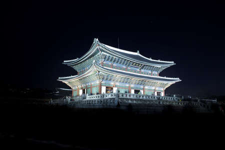 Night view of Korean old palace (Gyeongbokgung) Stock Photo - 10230891