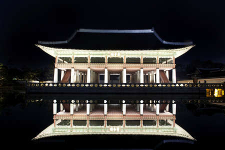 Night view of Korean old palace (Gyeongbokgung) Stock Photo - 10230892