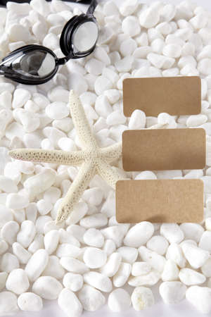 lotion bottle and sunglasses over white stones Stock Photo - 16705345