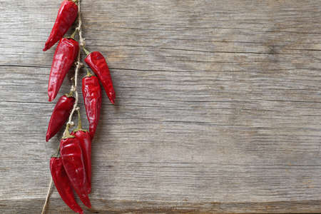red chili peppers hanging and drying on a rope on a wooden wall, copy space Фото со стока