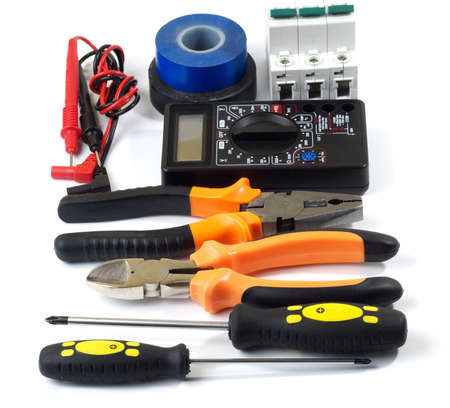 set of electrician tools and equipment on white background