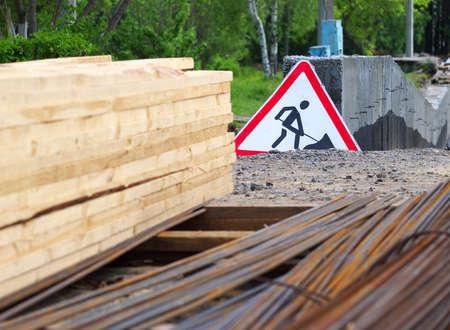 under construction sign on a construction site, selective focus Stock fotó