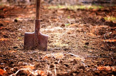 shovel in soil in spring garden, shallow depth of field, copy space, toned Stock fotó