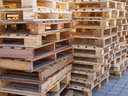 Stacked wooden pallets Stock fotó