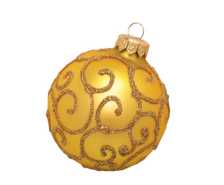 golden christmas ball, isolated on white background