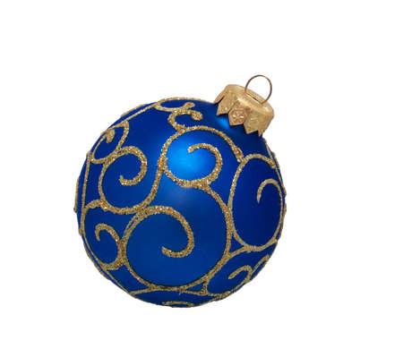 blue christmas ball, isolated on white background Stock fotó - 152881151