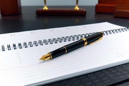 golden fountain pen on open organizer Stock fotó