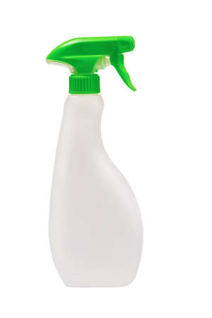White plastic spray bottle isolated on white