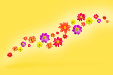 flying flowers on yellow color background, levitation and falling various dahlia single flower heads vivid design with copy space Stock fotó