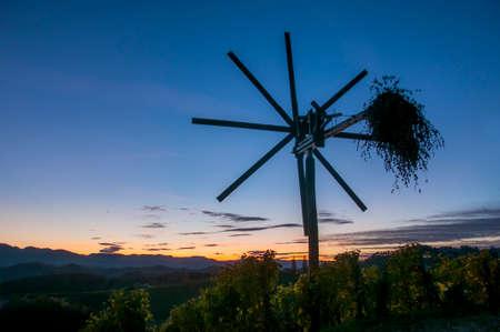 autumn scarecrow: Traditional slovene scarecrow erected in vineyards in autumn Stock Photo