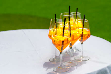 bitter orange: Popular Italian aperitif made with prosecco, orange bitter and soda, decorated with orange slices.Several glasses on white table with green background.