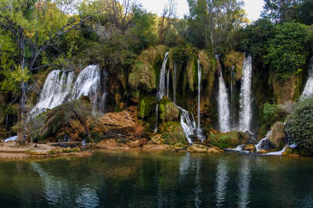 hercegovina: Kravice waterfalls in Bosnia and Herzegovina. A natural marble near Mostar, Bosnia and Herzegovina, at 25m (80ft) height the Trebizat river plunges down the rocks into crystal clear pools.