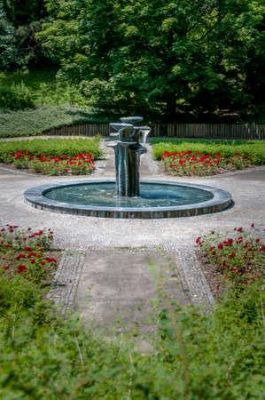 Maribor, Slovenia - June 23 2014: Fountains in the central city park Mestni park provide refreshment in hot summer days