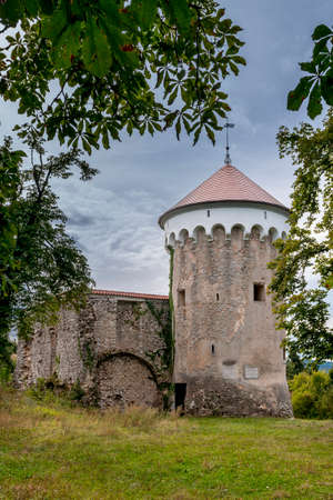 outbuilding: Watchtower and medieval ruins of Kalc (Kalec) castle, Pivka, Slovenia. The castle was built around 1620, today only the tower and ruins of an outbuilding remain.