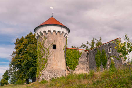 Watchtower and medieval ruins of Kalc (Kalec) castle, Pivka, Slovenia. The castle was built around 1620, today only the tower and ruins of an outbuilding remain.