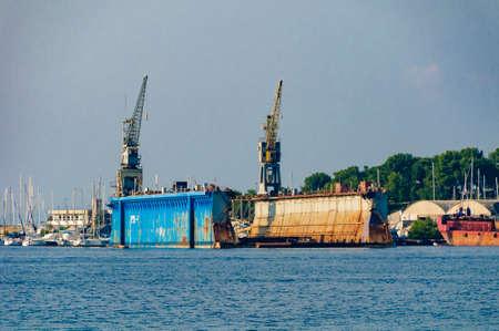 Losinj, Croatia - Ships on repair. The s