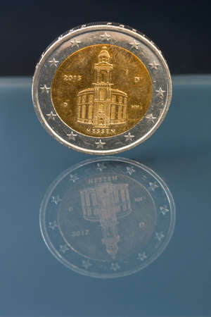 hessen: 2 euro coin money (EUR), currency of European Union, Germany, commemorative coin showing historical architecture of Hessen, Germany
