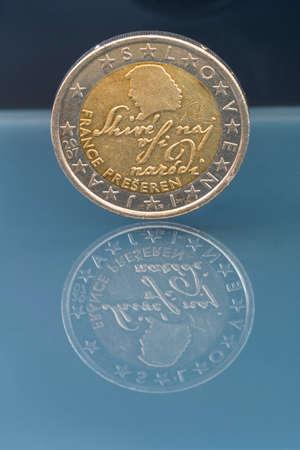 2 Eur Münze Slowenien Darstellung Des Berühmten Dichters France